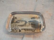 Vintage Glass Paperweight New Barstow St Bridge Eau Claire, Wisconsin