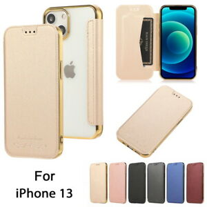 Leather Flip Cover Back Slim Case For iPhone 13 12 11 Pro Max XS XR 8 7 6s Plus