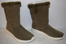 Skechers Go Walk Stunning Suede & Faux Fur Boots Olive Women's Size 8 W EUC