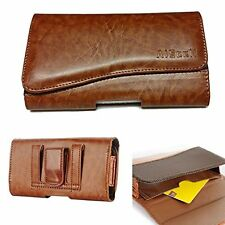 Tan Leather Pouch Executive Wallet Card Case Belt Loop Holster For HTC