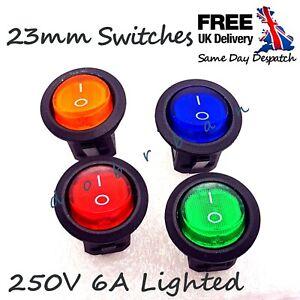 250V 6A Round ROCKER SWITCH ON/OFF I/O 1/0 Light illuminated Bulb Lamp 23mm UK