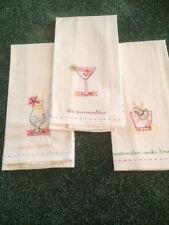 Bar towels -- Set of 3 -- embroidered, white, bar recipes on back side