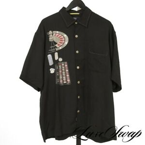 GAMBLERS Nat Nast 100% PURE Silk Washed Black Casino Roulette Camp Shirt XL NR