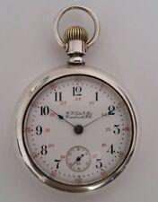 Reloj de Bolsillo ferrocarril de c'1899 De Plata Maciza Usa Excelente Antiguo