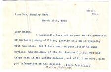 Mrs Humphry Ward - prolific novelist - 1915 TLS: doesn't promote child gardening