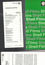Shell Films 1970s Alphabetical Listing of Films Envelope w Sheets