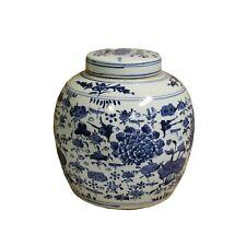 Chinese Vintage Oriental Blue & White Large Round Ginger Jar ws665