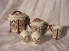 Vintage Holland Mold Hand Painted Five Piece Christmas Tea Set Holly Berry