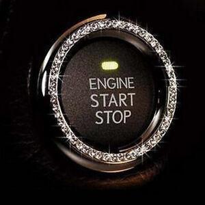 1PC Silver Car SUV Accessories Button Start Switch Diamond Ring Universal Decor
