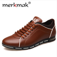 Men Business Dress Leather Shoes Flat European Casual Lace Up Plus Size