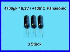 Elko -Kondens. Panasonic 4700µF (4700uF) / 6,3V / +105°C / RM: 5mm / 3 Stück Neu