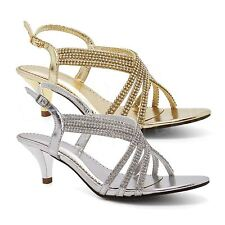 Womens Diamante Prom Sandals Ladies Low Kitten Heel Strappy Bridal Wedding Shoes
