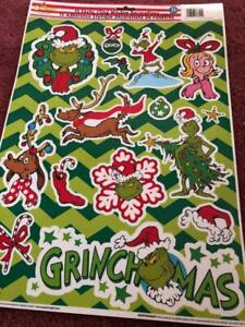 CHRISTMAS GRINCH 15 WINDOW CLINGS, NEW.