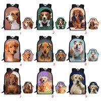 Dachshund Print Backpack For Teenage Girl School Bags Picnic Lunch Tote 2PCS/Set