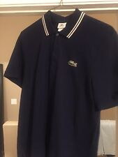 Lacoste Men's SS Dark Blue Striped Collar Polo Golf Shirt Size 6 XL