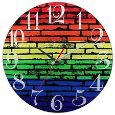 NEW! Rainbow Brick Wall Bear Pride LBGT Wall Clock Battery Operated Time Gift