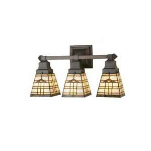 Meyda Lighting 20'W Arrowhead Mission 3 Lt Vanity Light, Ca Beige Amber - 98195