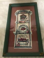 Homco Home Interiors Picture Bird House Apple Seed Ivy Basket Green Frame Vgc