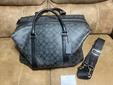 COACH Signature Explorer Duffle Leather Travel Gym Bag Charcoal Black F93456