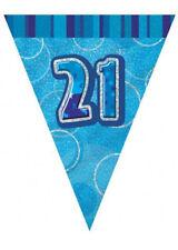 Blue Age 21 Male Happy 21st Birthday Banner Confetti Balloons Decorations Glitz Bunting