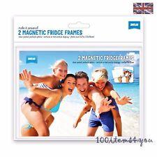 """MAGNETIC FRIDGE FRAMES PACK OF 2 CLIAR  FOR 6"""" x 4"""" PHOTOS GIFT UK"""