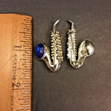 Saxophone Brooch Pin Sapphire Colored Faux Stone Silver Tone Set of 2 Pins Music