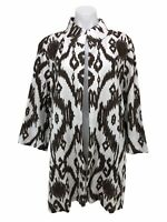 Chico's 3 Linen Jacket Cardigan Open Front Ikat Print 3/4 Sleeve Women's Size XL