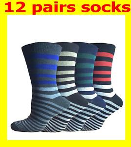 12 Pairs Italian Stripes Designer Men Socks,Cotton Rich Poly Cotton Size 6-11