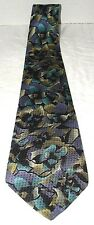 JHANE BARNES Tie Black/Green/Blue GEOMETRIC 100% SILK