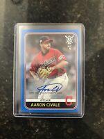 2020 Topps Big League Auto Blue Parallel Aaron Civale (#67) Cleveland Indians
