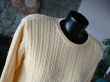 Talbots Moonlight Yellow Cotton Cable Knit Pullover Sweater   Crew Neck  S P