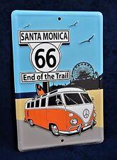 Route 66 - SANTA MONICA -*US MADE* Embossed Metal Tin Sign - Man Cave Garage Bar