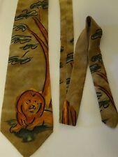Wild Lions Necktie Brown Tree Painted Drawing Animal Species All Silk Mens Tie