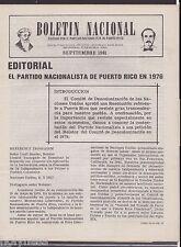 BOLETIN NACIONAL / PARTIDO NACIONALISTA DE PUERTO RICO / NEWSLETTER / SEP 1981