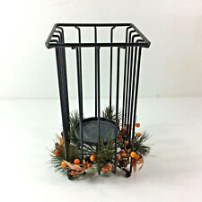 Wrought Iron Flameless LED Candle Holder Pine and Holly Accents Centerpiece