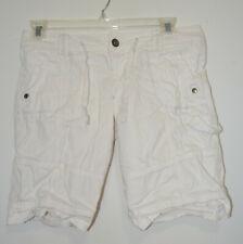 L.e.i. Women's White Ashley Trouble Drawstring Bermuda Shorts Size: Junior's 11