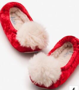Mini Boden Girl's Pompom Slippers, Polish Red