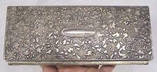 Vintage Jewelry Box Gorgeous Silver Plate Repousse Stylized Vine Motif