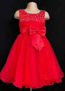 Red Flower Girl Bridesmaid Wedding Xmas Eid Prom Christening Party Dress 2-13y