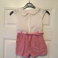 Girls Matalan All In One Playsuit White/Pink Floral Age 4-5 B2