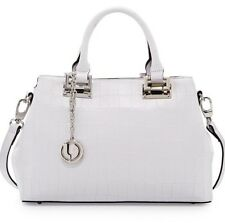 CHARLES JOURDAN Alligator Embossed White Leather Satchel NWT ~ Retail $450