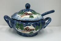 Katherine Michaels Cabin in the Snow Soup Lidded Soup Tureen with Ladle