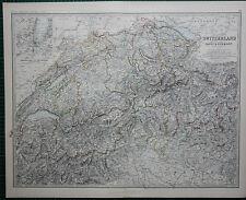 1887 LARGE VICTORIAN MAP ~ SWITZERLAND THE ALPS ~ SAVOY & PIEDMONT ~ ZURICH