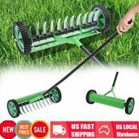 Rolling Lawn Aerator Vertical Roller Turf Dethatcher Thatching Rake Head Garde