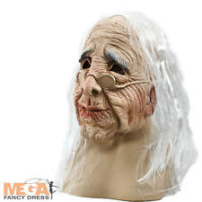 Old Woman Mask & Hair Halloween Witch Fancy Dress Story Book Character Costume