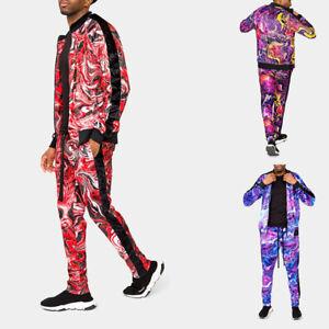 Men's Marble Velvet Velour Tracksuit Set Jogging Jacket and Sweatpants ST858EY