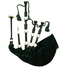 Scottish Highland Bagpipe African Black Wood Imitation Ivory Ferrules and Caps