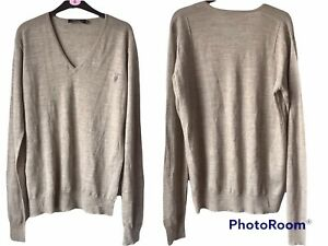 🌺AllSaints Shadow  Sweater Jumper 100% Merino Wool Mens Grey XL🌺