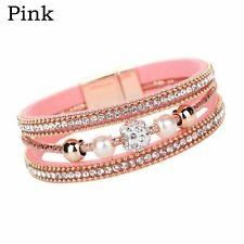 Pearl Fashion Beaded Bracelet Magnetic Leather Wristband Multilayer Bangle Pink