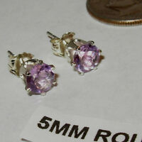 AMETHYST EARRINGS SOFT LAVENDER (LIGHT PURPLE) 5MM ROUND STUD STERLING SILVER